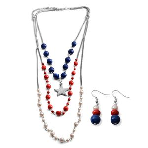 Blue and Red Howlite, Simulated Pearl Silvertone Earrings and Drape Necklace (18 in) TGW 14.12 cts.