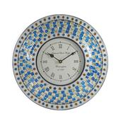 Handcrafted Blue Mosaic Wall Clock (12 in)