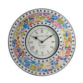 Handcrafted Multi Color Mosaic Wall Clock (12 in)