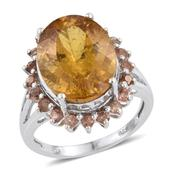 Golden Apatite, Jenipapo Andalusite Platinum Over Sterling Silver Ring (Size 9.0) TGW 10.75 cts.