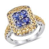 Premium AAA Tanzanite 14K YG and Platinum Over Sterling Silver Openwork Ring (Size 5.0) TGW 1.300 cts.