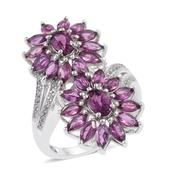 Purple Garnet, White Topaz Platinum Over Sterling Silver Bypass Ring (Size 7.0) TGW 5.370 cts.