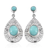 Sonoran Blue Turquoise Sterling Silver Earrings TGW 7.34 cts.