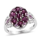 Purple Garnet Platinum Over Sterling Silver Ring (Size 9.0) TGW 3.500 cts.