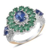 Himalayan Kyanite, Kagem Zambian Emerald, White Zircon 14K YG and Platinum Over Sterling Silver Ring (Size 6.0) TGW 5.860 cts.