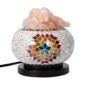 Multi Color Round Electric Lamp with Rock Salt