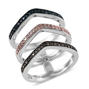 Natural Pink and Champagne Diamond, Blue Diamond (IR) Platinum Over Sterling Silver Open 3 Row Elongated V- Shape Ring (Size 9.0) TDiaWt 0.50 cts, TGW 0.50 cts.
