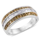 Yellow Diamond (IR), Diamond 14K YG and Platinum Over Sterling Silver Ring (Size 10.0) TDiaWt 0.97 cts, TGW 0.970 cts.