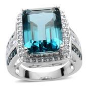 Color Change Fluorite, London Blue Topaz, White Topaz Sterling Silver Ring (Size 7.0) TGW 13.720 cts.