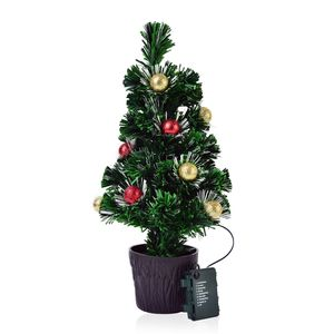 Remote Control Fiber Optic Christmas Tree, (19 in) (Red/Gold Ornaments)