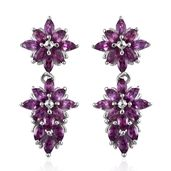 Purple Garnet Platinum Over Sterling Silver Floral Earrings TGW 3.80 cts.