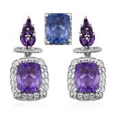 Color Change Fluorite, Amethyst, White Topaz Platinum Over Sterling Silver Dangle Earrings TGW 12.45 cts.
