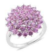 Madagascar Pink Sapphire Platinum Over Sterling Silver Cluster Ring (Size 8.0) TGW 3.30 cts.