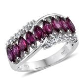 Purple Garnet, White Topaz Platinum Over Sterling Silver Ring (Size 6.0) TGW 2.98 cts.