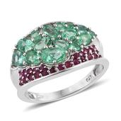 Boyaca Colombian Emerald, Ruby Platinum Over Sterling Silver Concave Ring (Size 9.0) TGW 2.715 cts.