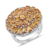 Yellow Sapphire Platinum Over Sterling Silver Ring (Size 7.0) TGW 10.040 cts.