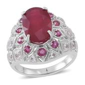 Niassa Ruby, Ruby, White Topaz Sterling Silver Ring (Size 8.0) TGW 11.000 cts.