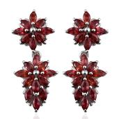 Sunset Red Sapphire Platinum Over Sterling Silver Earrings TGW 4.700 Cts.