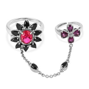 Rubellite Color Quartz, Thai Black Spinel, Orissa Rhodolite Garnet Platinum Over Sterling Silver Double Finger Chain Ring (Size 7.0) TGW 7.41 cts.