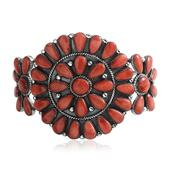 Santa Fe Style Spiny Oyster Red Shell Sterling Silver Cuff (6.50 in) Total Gem Stone Weight 6.74 Carat