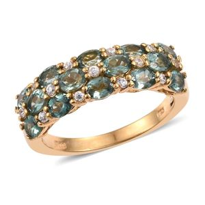 Indian Ocean Apatite, White Zircon 14K YG Over Sterling Silver Ring (Size 7.0) TGW 2.880 cts.