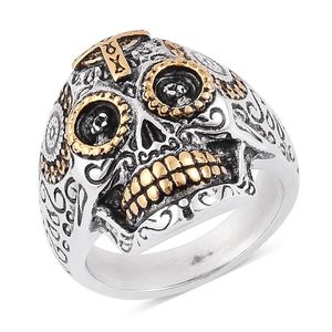 Halloween ION Plated Black, YG and Stainless Steel Skull Men's Ring (Size 9.0)