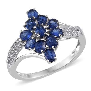 Himalayan Kyanite, White Topaz Platinum Over Sterling Silver Ring (Size 7.0) TGW 2.930 cts.
