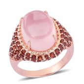 Galilea Rose Quartz, Mozambique Garnet 14K RG Over Sterling Silver Ring (Size 8.0) TGW 15.410 cts.