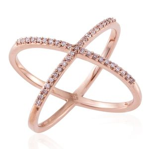 Natural Pink Diamond 14K RG Over Sterling Silver Criss Cross Ring (Size 8.0) TDiaWt 0.33 cts, TGW 0.33 cts.
