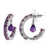 Amethyst, Purple Garnet Platinum Over Sterling Silver Inside Out Charm Half Hoop Earrings TGW 4.900 Cts.