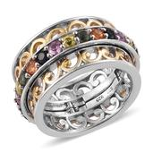Multi Sapphire 14K YG and Platinum Over Sterling Silver Spinner Openwork Band Ring (Size 8.0) TGW 3.600 cts.