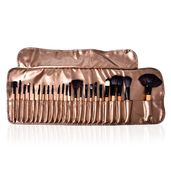 24 Piece Professional Cosmetic Brushes with Bronze Faux Leather Roll Storage Pouch