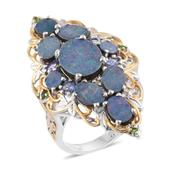 Australian Boulder Opal, Tanzanite, Russian Diopside 14K YG and Platinum Over Sterling Silver Openwork Elongated Ring (Size 6.0) TGW 7.02 cts.
