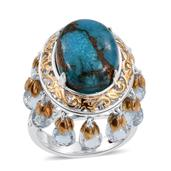 Royal Jaipur Mojave Blue Turquoise, Sky Blue Topaz, Ruby 14K YG and Platinum Over Sterling Silver Openwork Dangle Bridge Ring (Size 7.0) TGW 22.130 cts.