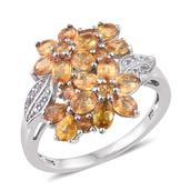 Yellow Sapphire, White Topaz Platinum Over Sterling Silver Floral Ring (Size 8.0) TGW 4.02 cts.