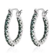 Indian Ocean Apatite Platinum Over Sterling Silver Inside Out Hoop Earrings TGW 1.780 Cts.