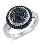 Blue Diamond (IR), Diamond Blue Rhodium & Platinum Over Sterling Silver Ring (Size 10.0) TDiaWt 1.00 cts, TGW 1.00 cts.