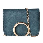 J Francis - Forest Green Faux Leather Arch Flap Over Crossbody Clutch (7x2.5x5.5 In)