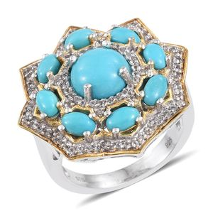 Arizona Sleeping Beauty Turquoise, White Topaz 14K YG and Platinum Over Sterling Silver Statement Ring (Size 8.0) TGW 4.55 cts.
