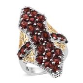 Mozambique Garnet, White Topaz 14K YG and Platinum Over Sterling Silver Elongated Ring (Size 6.0) TGW 9.63 cts.