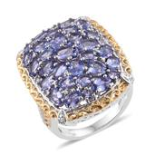 Tanzanite, White Topaz 14K YG and Platinum Over Sterling Silver Elongated Cluster Ring (Size 6.0) TGW 7.19 cts.