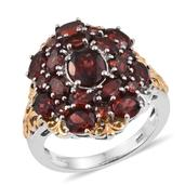 Mozambique Garnet 14K YG and Platinum Over Sterling Silver Openwork Cluster Ring (Size 7.0) TGW 7.870 cts.