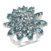 Madagascar Paraiba Apatite Platinum Over Sterling Silver Statement Ring (Size 10.0) TGW 11.81 cts.