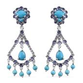 Arizona Sleeping Beauty Turquoise, Tanzanite, White Topaz Platinum Over Sterling Silver Chandelier Earrings TGW 9.62 cts.