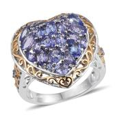 Tanzanite 14K YG and Platinum Over Sterling Silver Cluster Heart Ring (Size 6.0) TGW 3.750 cts.