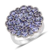 Tanzanite Platinum Over Sterling Silver Cluster Ring (Size 8.0) TGW 4.87 cts.