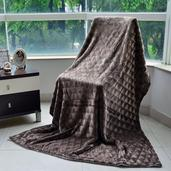 Brown Brushed Flannel Reversible Sherpa Throw (50x70 in)