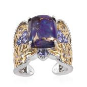 Royal Jaipur Mojave Purple Turquoise, Tanzanite, Ruby 14K YG and Platinum Over Sterling Silver Openwork Open Band Ring (Size 8.0) TGW 11.94 cts.