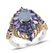 Australian Boulder Opal, Tanzanite 14K YG and Platinum Over Sterling Silver Statement Ring (Size 6.0) TGW 4.34 cts.