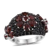 Mozambique Garnet, Thai Black Spinel Platinum Over Sterling Silver Ring (Size 8.0) TGW 9.81 cts.